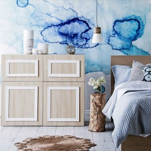 Photowall Watercolourd Collection Blue Drops Mural Homes Plus Magazine Stylist Kerrie-Ann Jones Photography Maree Homer