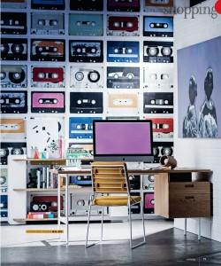 Cassettes Mural. Styling Kerrie- Ann Jones. Photography Maree Homer. Real Living Magazine.