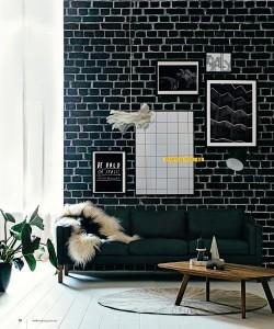 Black Brick Mural. Styling Tahnee Carroll. Photography Felix Forest. Real Living Magazine.