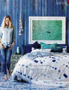 Photowall Faux Walls CollectionVintage Wood Blue Mural Real Living Magazine Page 2 Stylist Sarah Ellison