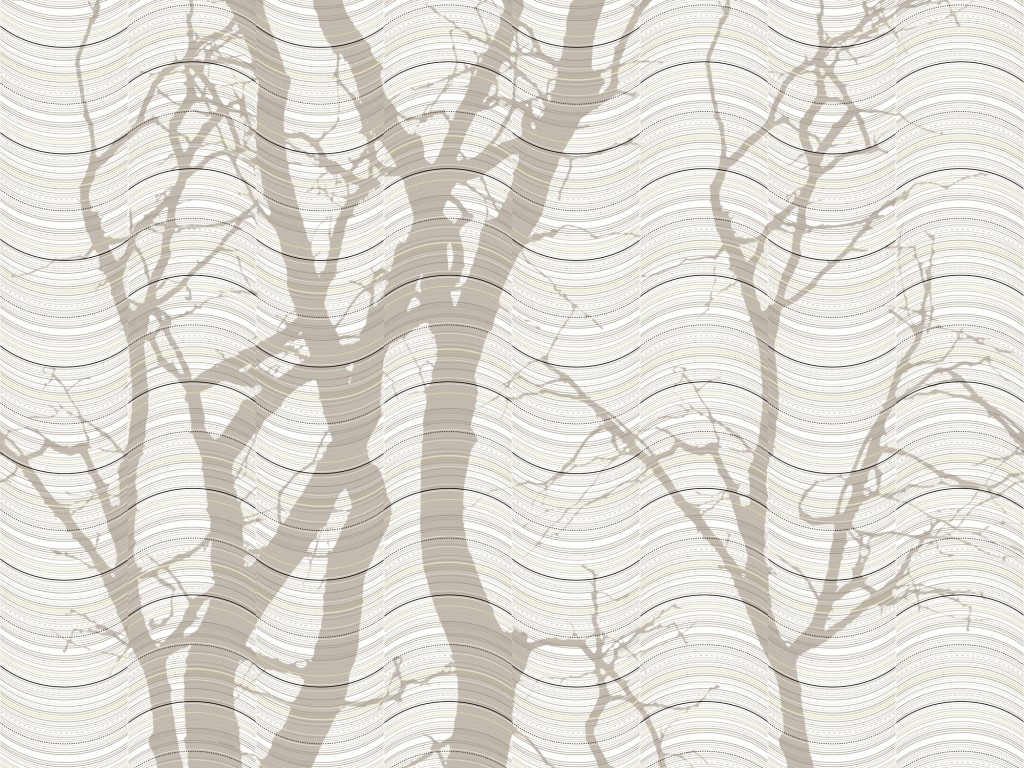 Wave beige Scandinavian wallpaper and decor