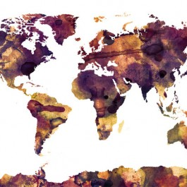 Watercolor world map, Purple