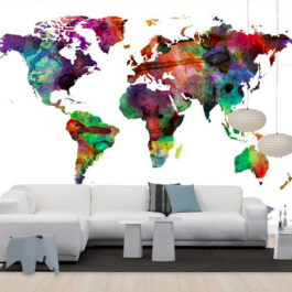 Watercolor world map - multicolor