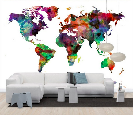 World Map Wallpaper Adelaide. Watercolor world map  multicolor Watercolours