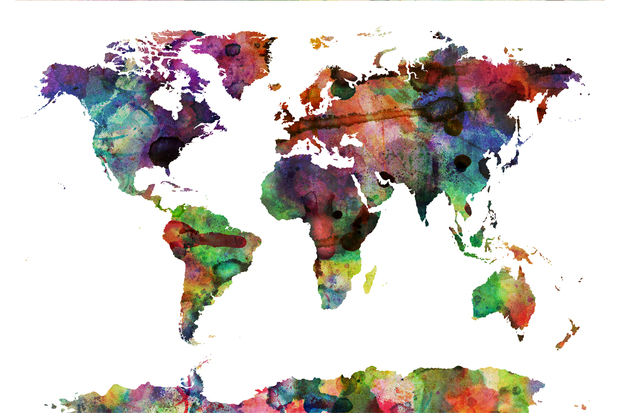 Watercolor world map multicolor watercolor world map multicolor gumiabroncs Choice Image