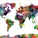 Watercolor world map - multicolor